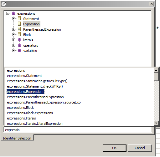 Dialog for Identifier selection
